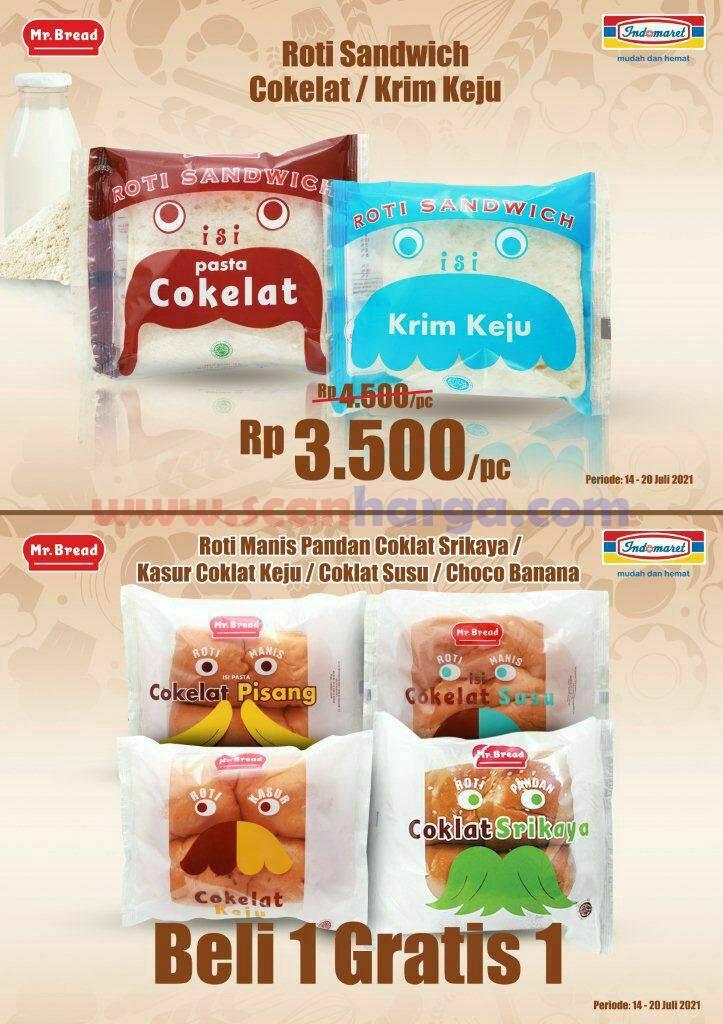 Promo Mr Bread Roti Indomaret Beli 1 Gratis 1 Periode 14 - 20 Juli 2021