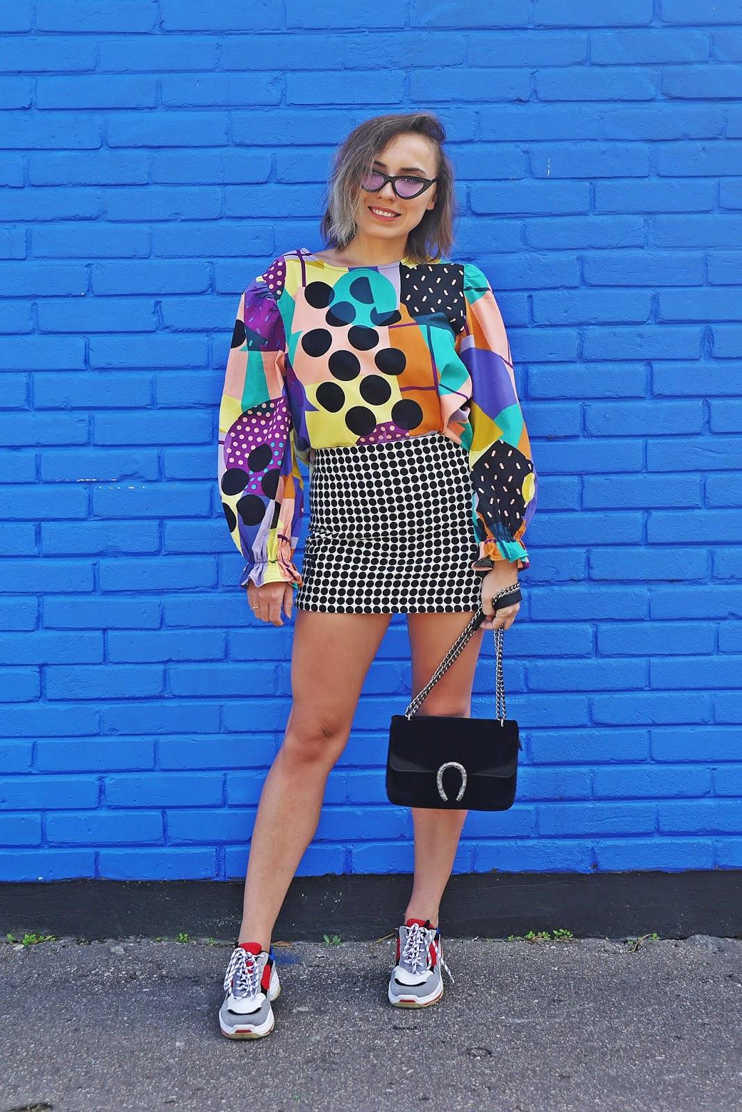 spódnica w kropki topshop torebka łańcuch renee buty sportowe karyn blog modowy