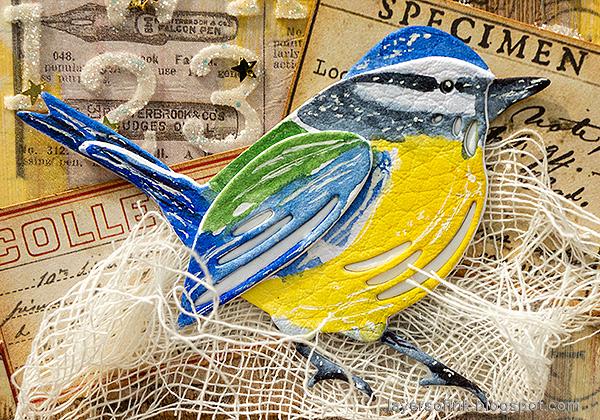 Layers of ink - DIY Bird Notebooks Tutorial by Anna-Karin Evaldsson. Euroasian blue tit.