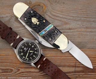 Large Sunfish jigged bone traditional pocket knife