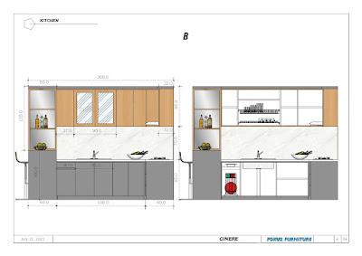 desain kitchen set dalam desain 2d