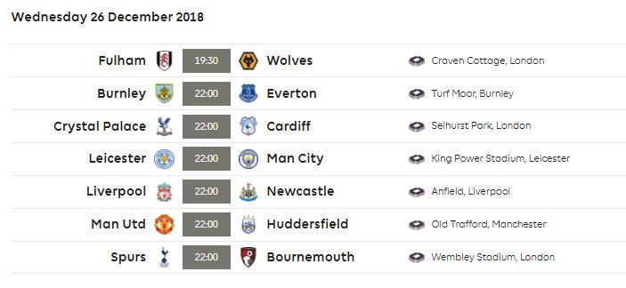 Jadwal Siaran Langsung Boxing Day Liga Inggris