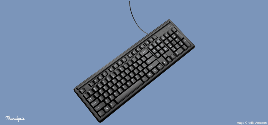 HP 100 variant of HP wired keyboard. Image credit: Amazon