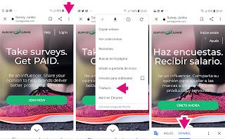 Instalar la extensión de Google Translate en el navegador Chrome del dispositivo móvil