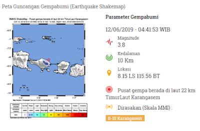 Pusat gempa berada di laut 22 km TimurLaut Karangasem dan dirasakan di daerah Karangasem.