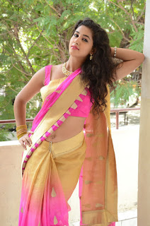 Pavani Looks super cute in Beig Saree with Pink Choli at Vasudhaika 1957 press meet