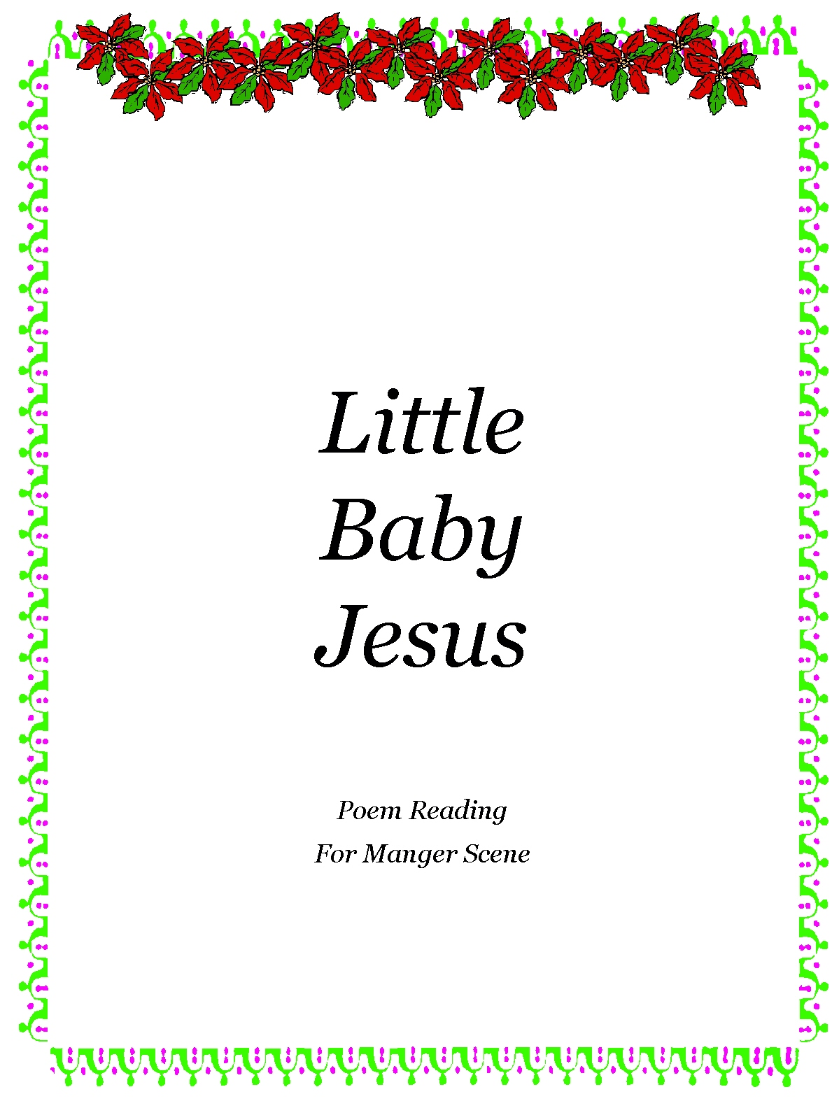 Christmas Poems For Church Programs - Song or poem for manger scene program susan y nikitenko november 26th 2012