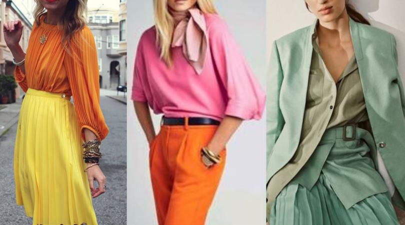 Verão 2020: As Maiores Tendências de Cores - peças de roupa nas cores amarelo, laranja, rosa e verde menta.