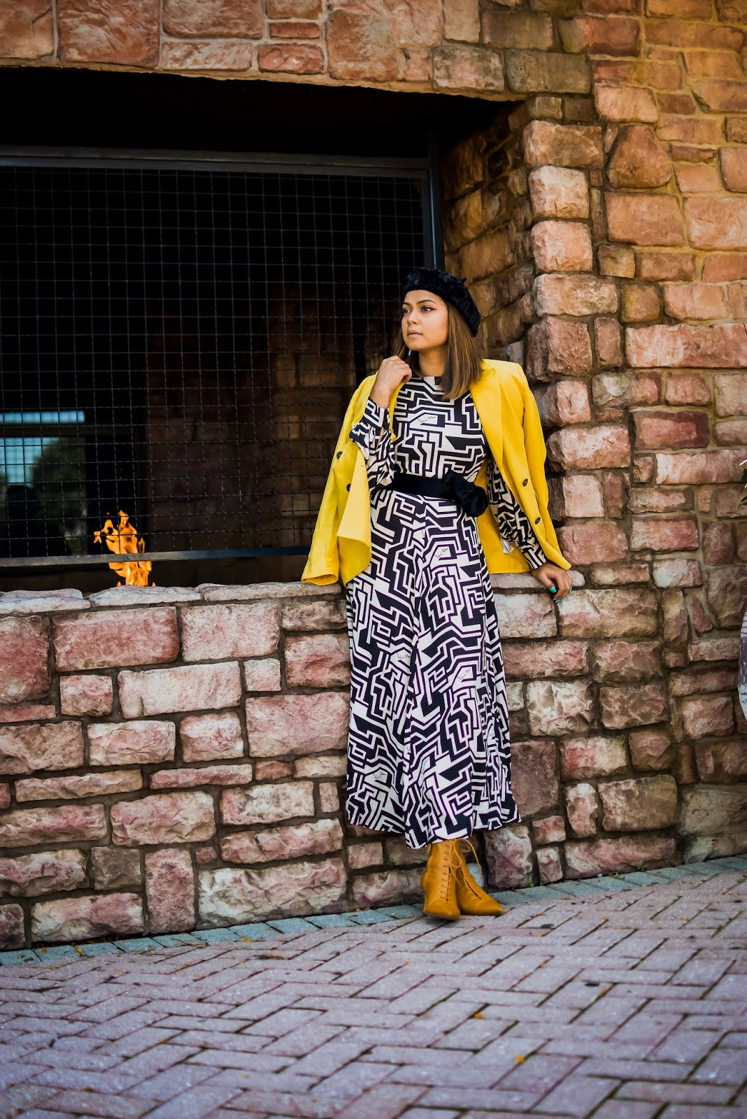how to transition your summer dress to fall. HM richard alan dress, geometric dress style, beret style, midi dress outfit, layered outfit for fall, fall fashion, yellow blazer, black and white and yellow, myriad musings, saumya shiohare
