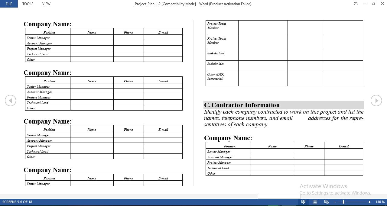 Free Project Plan Template in Word Intended For Work Plan Template Word