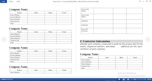 Free Project Plan Template in Word