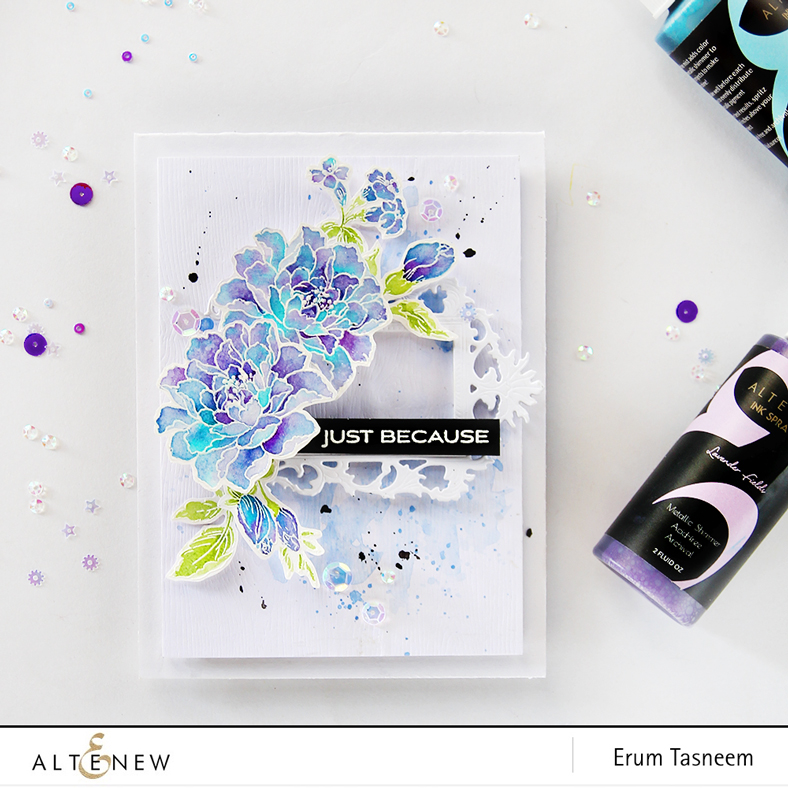 Altenew Remember This Stamp Set watercoloured using Metallic Shimmer Sprays by Erum Tasneem - @pr0digy0