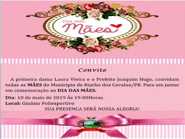 Prefeitura de Riacho dos Cavalos, irá realiza Jantar em comemoração ao dia das Mães