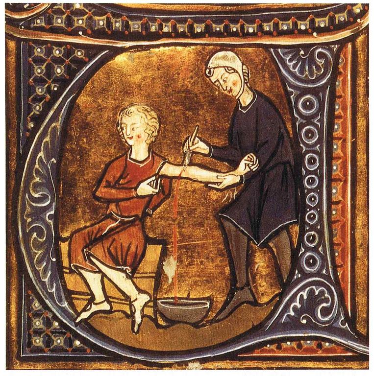 Médico fazendo uma sangria