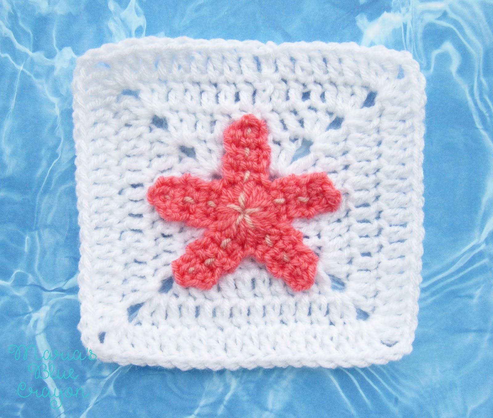 Crochet Starfish Applique and Granny Square Free Crochet Pattern ...