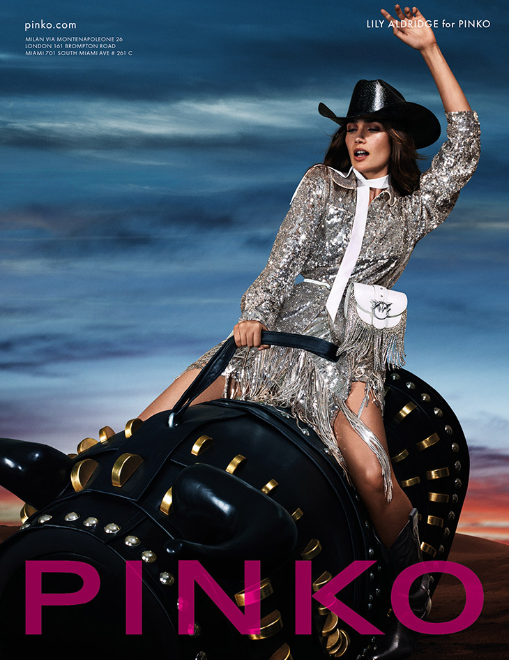 Lily Aldridge goes rodeo glam for the Pinko Spring/Summer 2020 Campaign