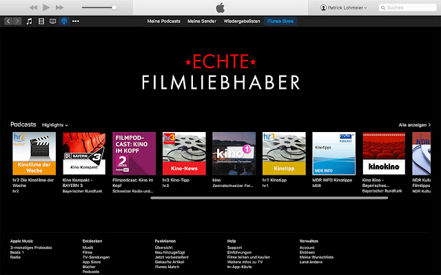 iTunes Kategorie Film Fanatics