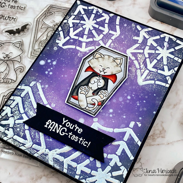 Halloween Card by Tina Herbeck | Count Newton Stamp Set and Spiderweb Stencil by Newton's Nook Designs #newtonsnook #handmade