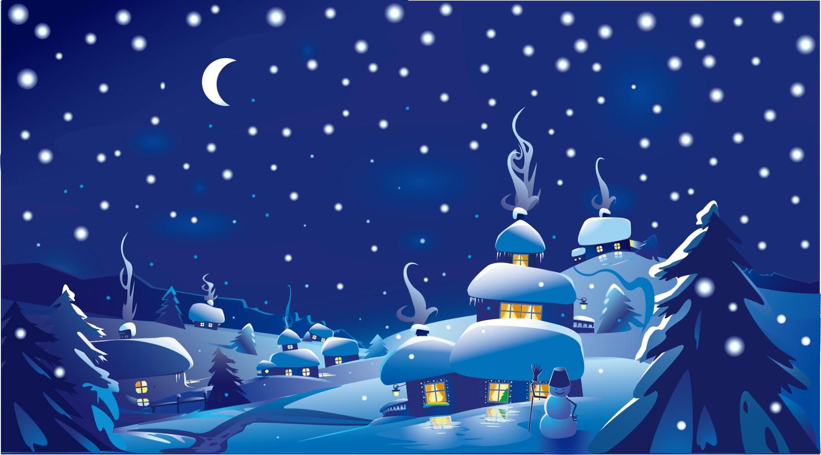 Free Vector がらくた素材庫 美しいクリスマス シーンの背景 Beautiful Christmas
