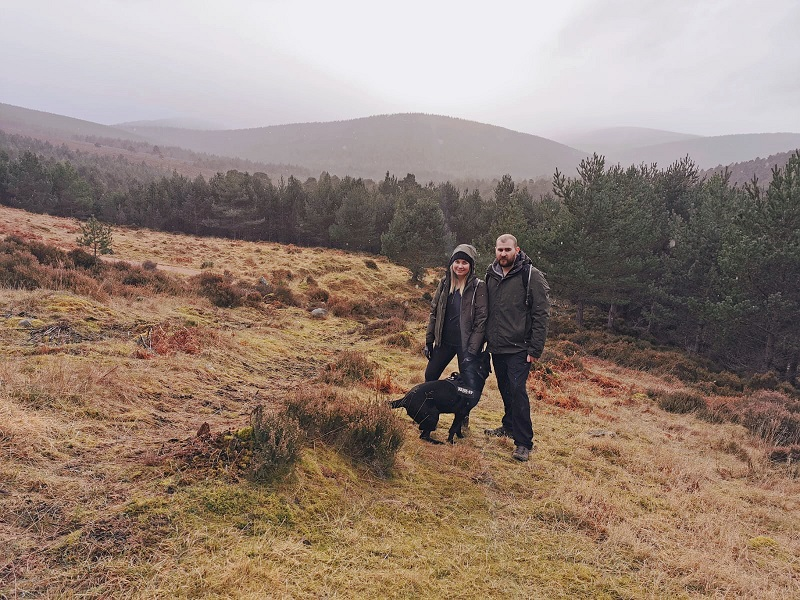 Us with the dog on the Glen Tanar estate