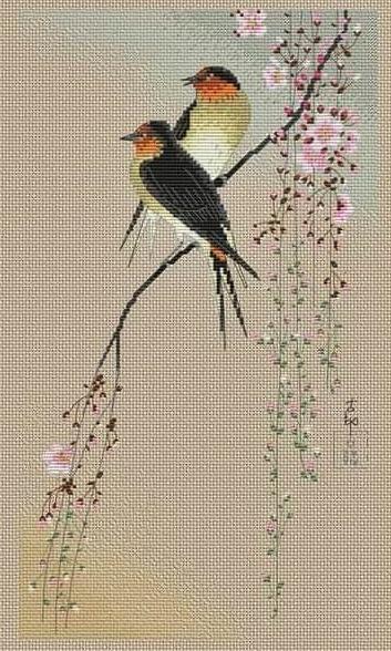 japan style birds cross stitch pattern