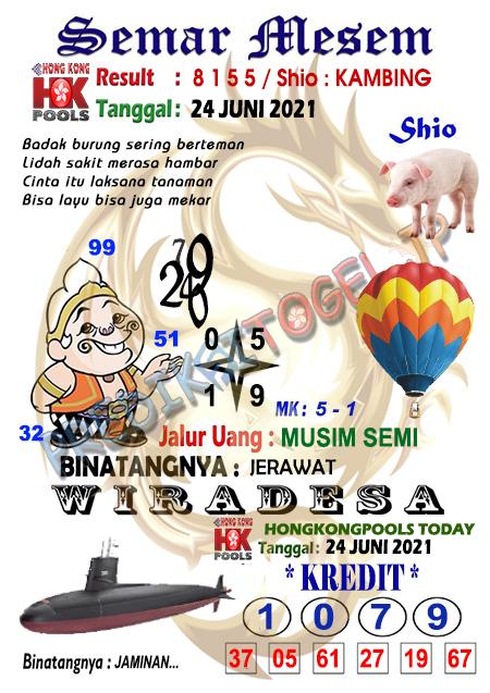 Syair Semar Mesem HK Kamis 24 Juni 2021