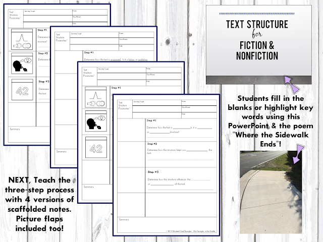 Teaching middle school students to USE text structures is easy with these scaffolded visual notes!  #lesson #activities