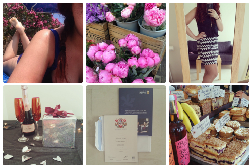 a selection of Instagram shots from francescasoph (francesca sophia); a girl lounging in the sun in a blue bikini, her red hair over one shoulder; a selection of vibrant pink peonies in wooden crates; francesca sophia wearing an aztec print skirt in black and white, with a black tank top; two flutes of champagne on a table next to a bottle of moet and a wrapped present; a psychology degree from the university of kent; a selection of cakes and pastries on display at a shop.