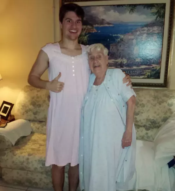 This modest 84 year-old grandma was embarrassed at wearing a nightgown in front of strangers, so her grandson wore one in solidarity.