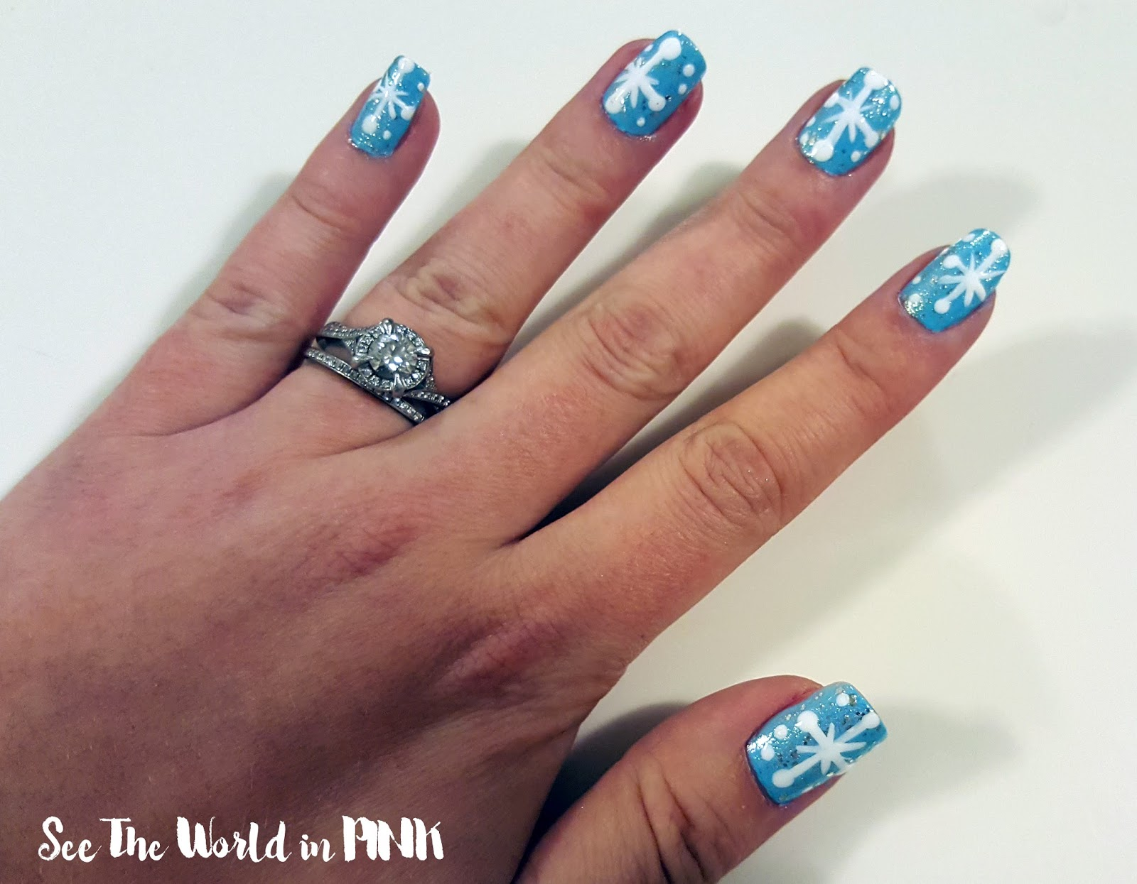 Manicure Monday - Blue, White and Silver Snowflakes!
