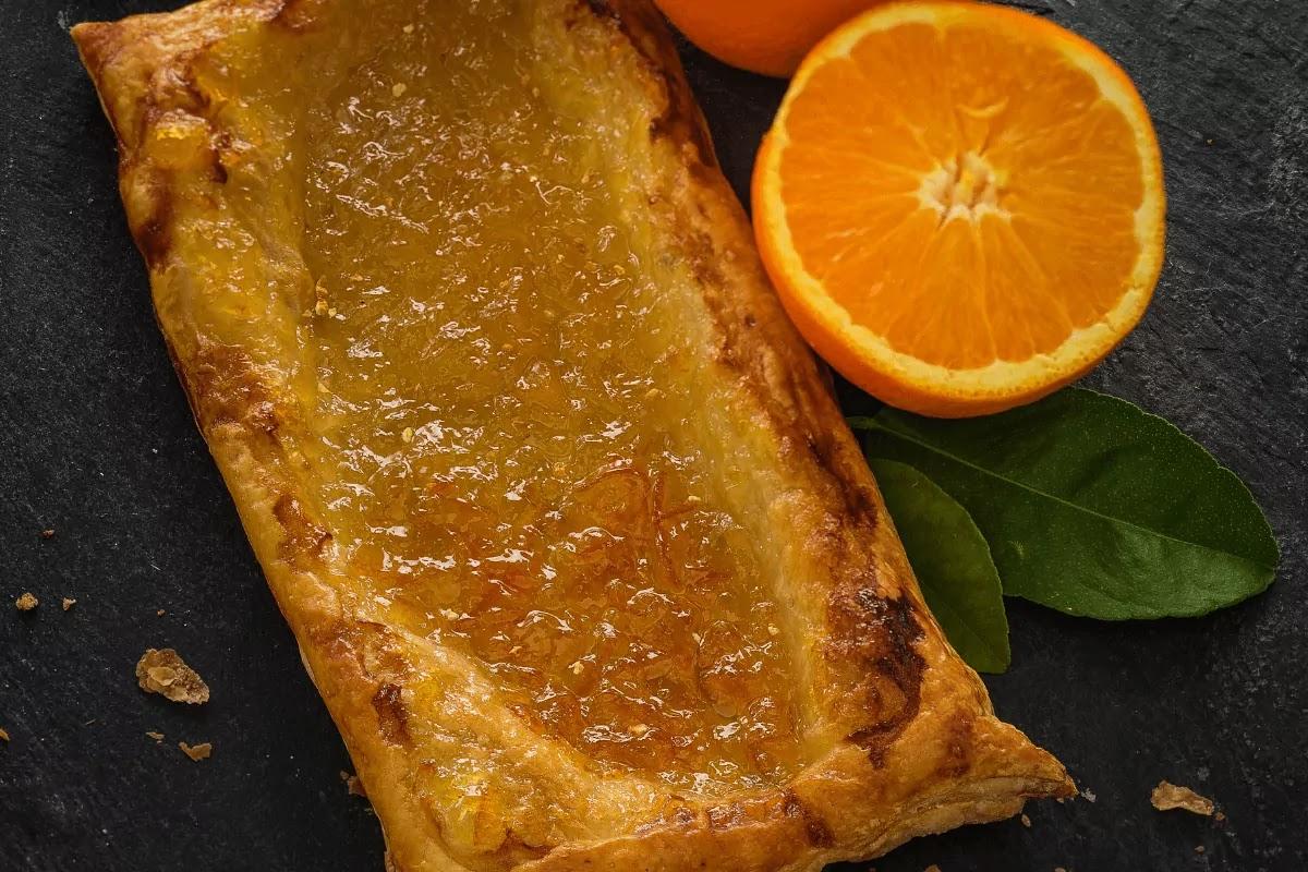 Orange jam Jus Rol puff pastry on stone background