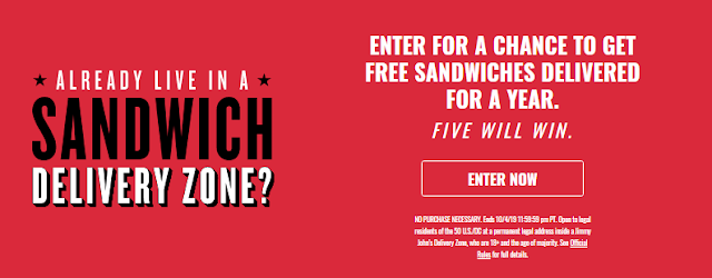 If you're in their delivery area, Jimmy John's wants you to enter once for your chance to win one of five Jimmy John's gift cards worth more than $500!