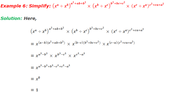 Example 6: Simplify: (x^a÷x^b )^(a^2+ab+b^2 )× (x^b÷x^c )^(b^2+bc+c^2 )× (x^c÷x^a )^(c^2+ca+a^2 )