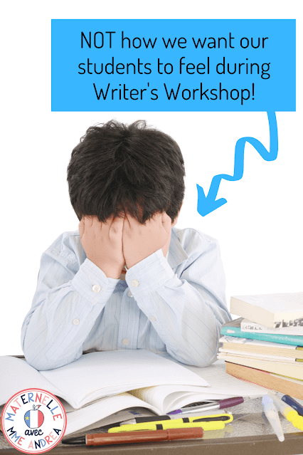 "This is a photograph of a young child showing frustration with hands over the face and the text, ""NOT how we want our students to feel during Writer's Workshop"" on it."