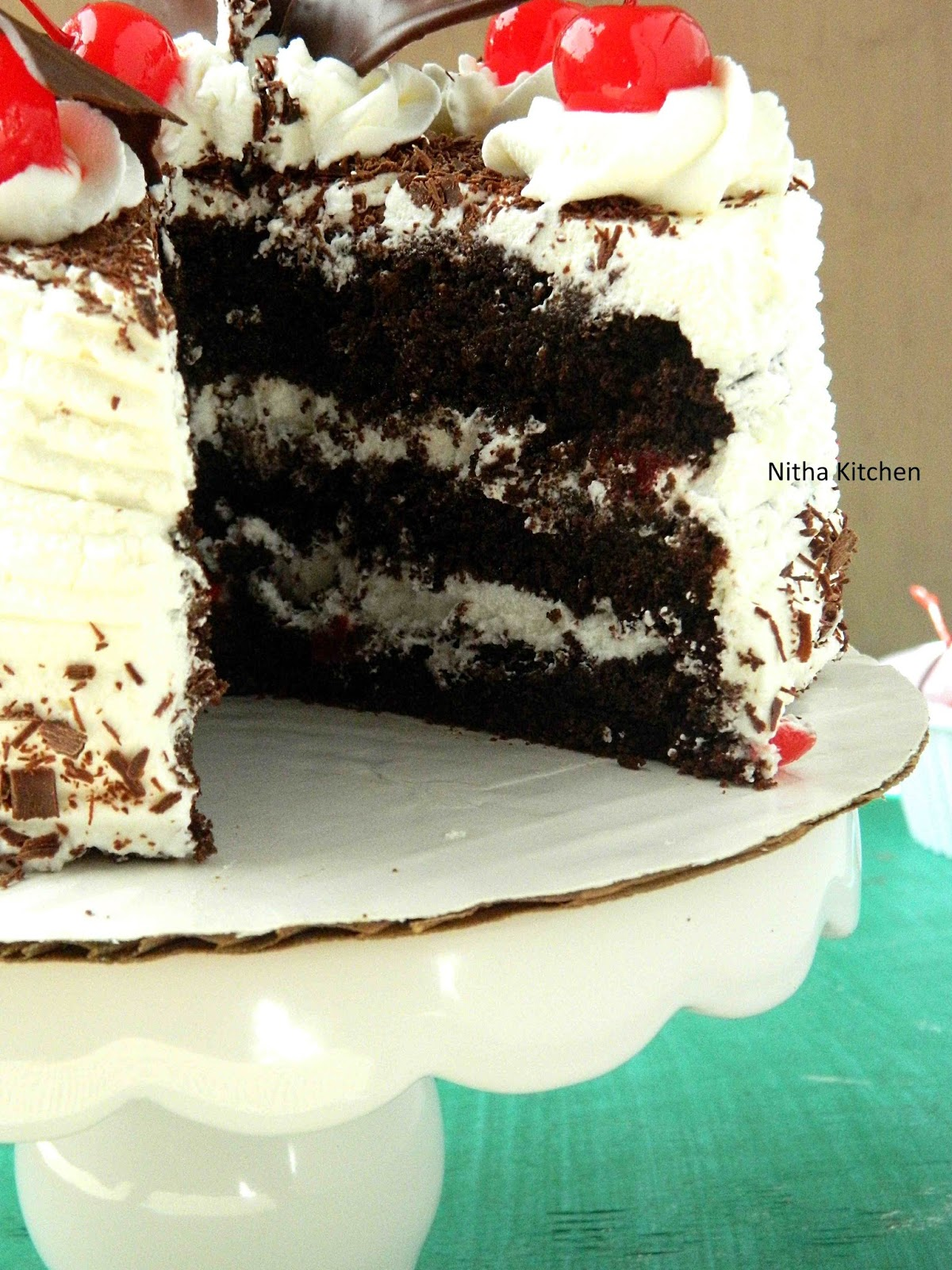 Eggless Black Forest Cake With Layers Of Hot Chocolate