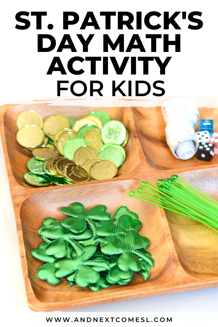 St. Patrick's Day math activity tray for preschool and kindergarten kids