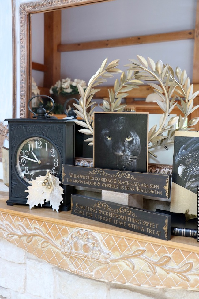 Elegant halloween black and gold mantel with new perspectives on familiar halloween themes