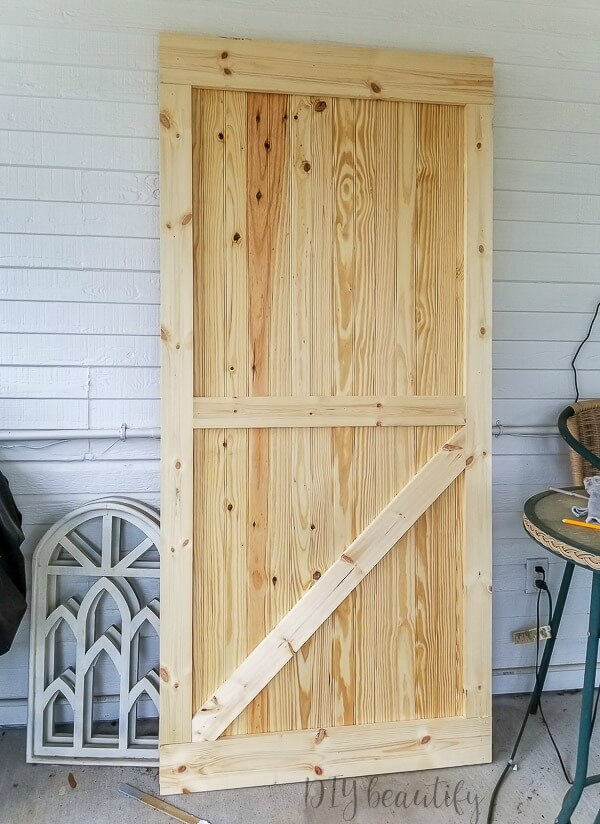 DIY barn door from pine