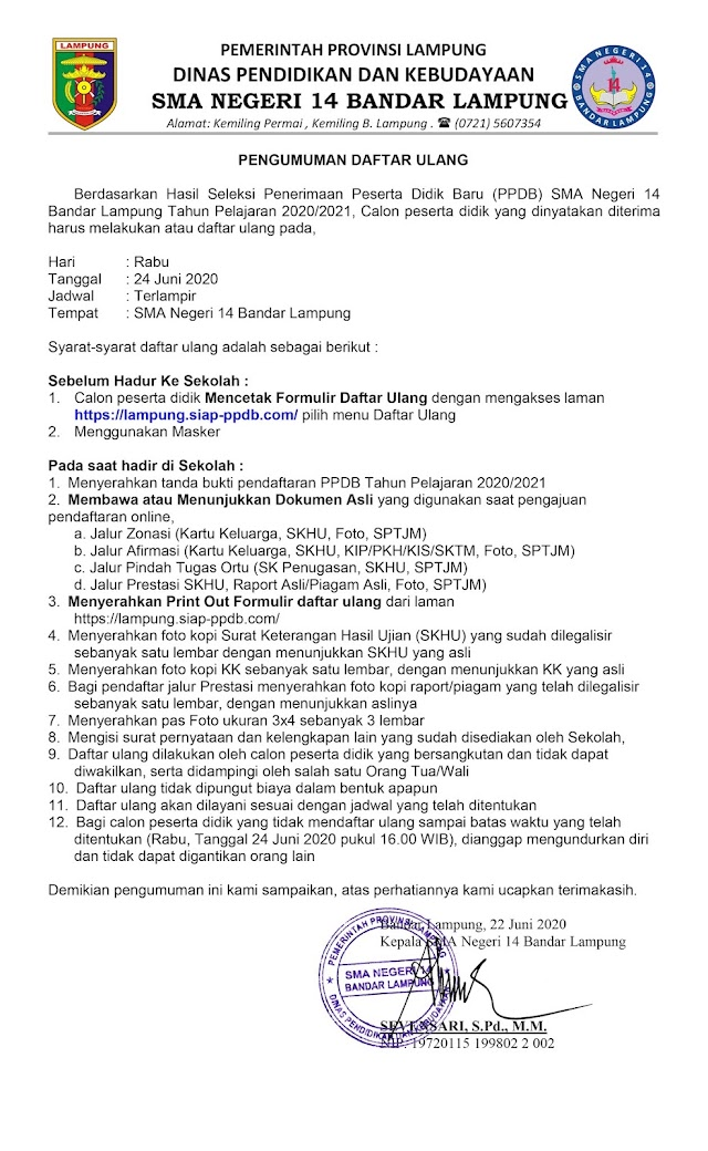 PENGUMUMAN PROSEDUR DAN PERSYARATAN DAFTAR ULANG PPDB SMAN 14 TP. 2020/2021