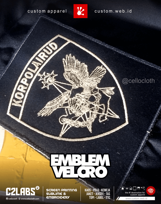 Emblem Velcro Pacth Bordir - Bikin Kemeja Tactical Jogja