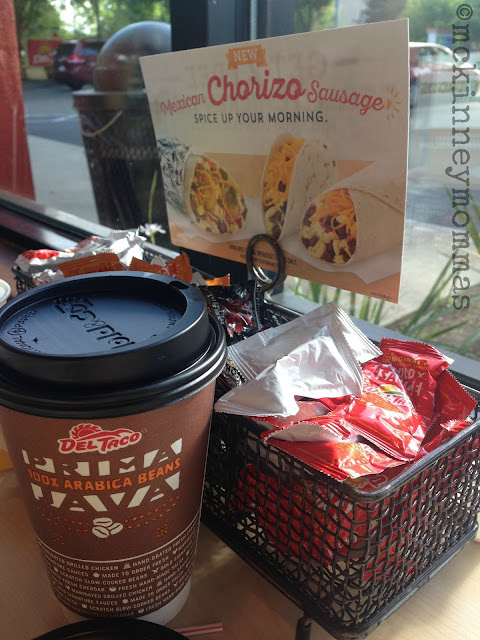 Del Taco Coffee, chorizo breakfast taco