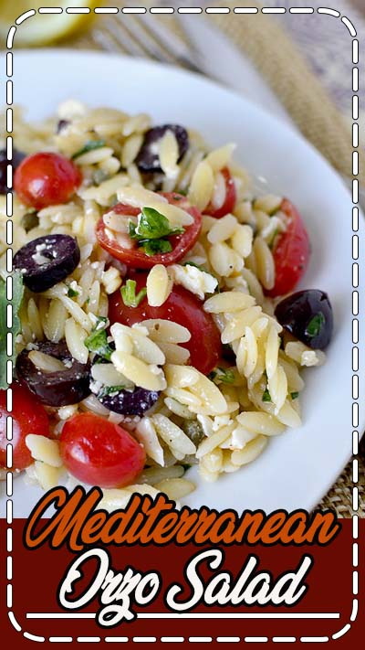 Description Mediterranean Orzo Salad is a simple vegetarian side dish recipe that's packed with fresh and zesty flavors.