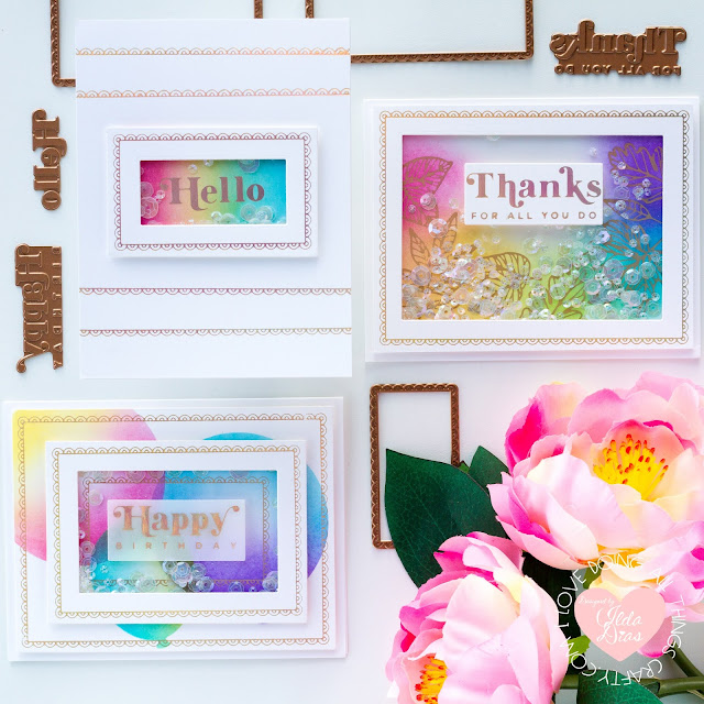 Rainbow, Scalloped Glimmer, Shaker Cards,Spellbinders, GOM, February 2021,Card Making, Stamping, Die Cutting, handmade card, ilovedoingallthingscrafty, Stamps, how to,Ink Blending,distress oxide inks,
