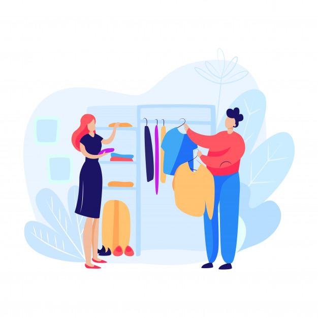 Vector Animasi Kartun Wanita Dan Laki Membeli Baju Di Mall Untuk Olshop Instgram Jualdesainku
