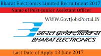 Bharat Electronics Limited Recruitment 2017– Junior Assistant