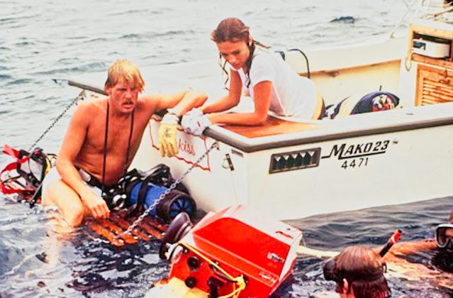 Nick Nolte, Jacqueline Bisset and Al Giddings filming at South West Breaker Bermuda 1976