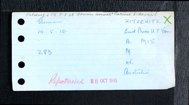 1940 UK Alien Internees card for Ernst Bodo Wilhelm Theophil von Zitzewitz (from Ancestry).