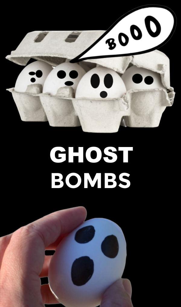 Make smoking ghost bombs for kids Halloween fun! #halloweenghostbombs #ghostbombs #ghostactivitiesforpreschool #ghosteggs #growingajeweledrose