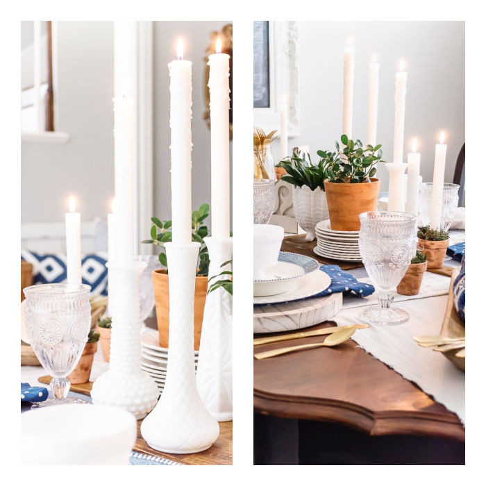 white taper candles in milk glass
