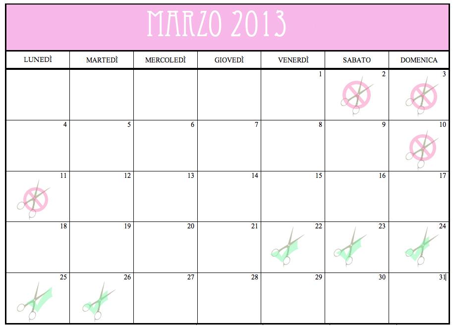 Calendario Lunare Marzo.Taglio Capelli Calendario Lunare Marzo 2013 Le Tre Line
